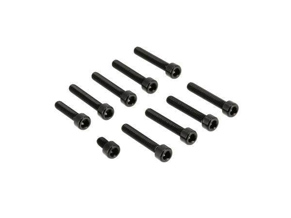 Set: Aluminium-Schrauben, Innensechskant in Schwarz für Kupplungs- und Lichtmaschinendeckel Motor S51,  10070562 - Bild 1