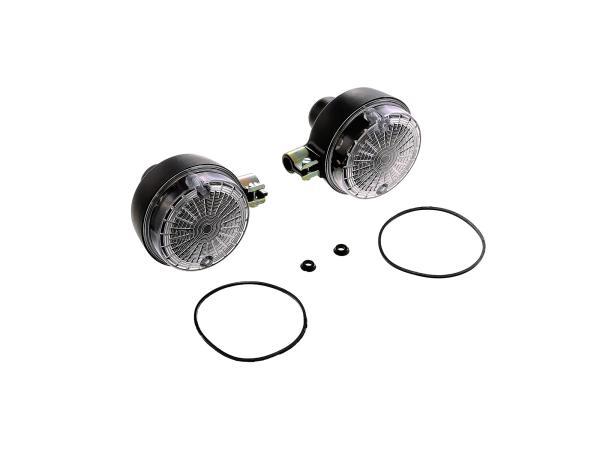 10067024 Set: 2 Blinker hinten, rund in Schwarz mit weißem Glas - Simson S50, S51, S70, SR50, SR80, MZ ETZ, TS - Bild 1