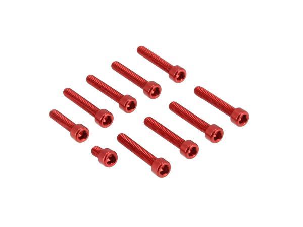 Set: Aluminium-Schrauben, Innensechskant in Rot für Kupplungs- und Lichtmaschinendeckel Motor S51,  10070563 - Bild 1