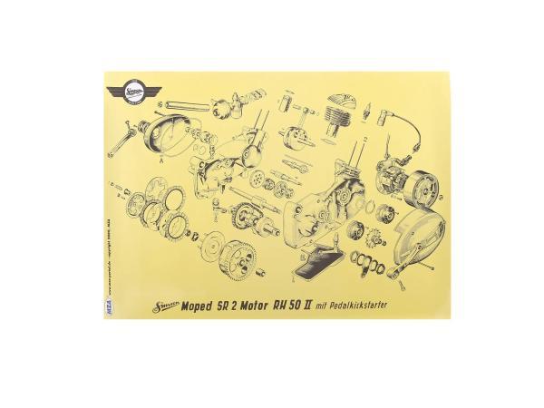 Explosionsdarstellung Farbposter (72x50cm) Simson SR2 Motor RH50II SR2 mit Pedalkickstarter,  10016458 - Bild 1