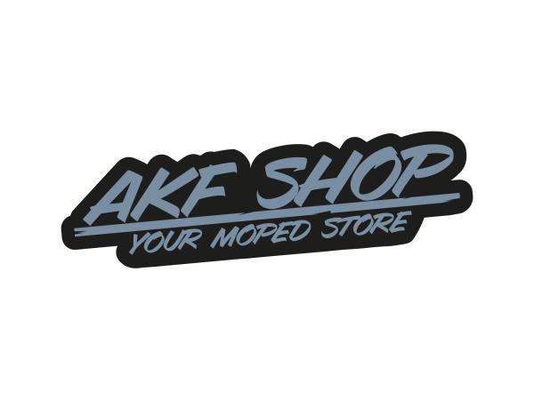 """10070122 Aufkleber - """"AKF Shop - your moped store"""" Schwarz/Grau, konturgeschnitten - Bild 1"""