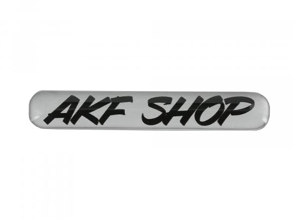 "Gelaufkleber - ""AKF Shop"" silber/schwarz,  10070617 - Bild 1"