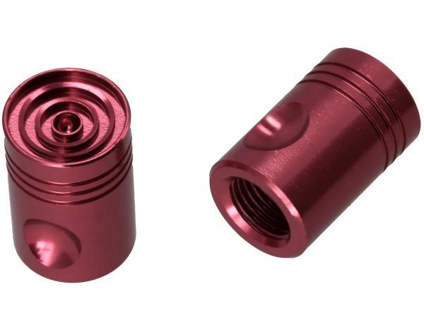 Set: 2x Ventilkappe Pin, Rot eloxiert,  10065855 - Bild 1
