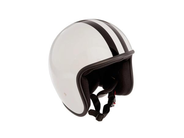 """ARC Helm """"Modell A-611"""" Retrolook - Altweiß mit Streifen,  10068606 - Bild 1"""