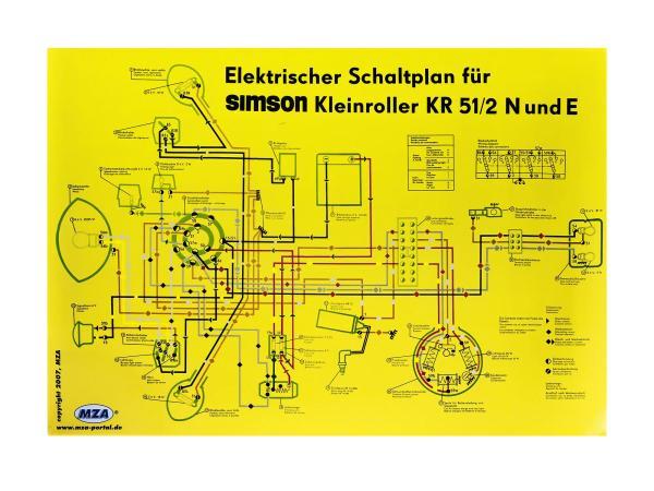 Schaltplan Farbposter (69x49cm) Simson Schwalbe KR51/2 N und E,  10007836 - Bild 1