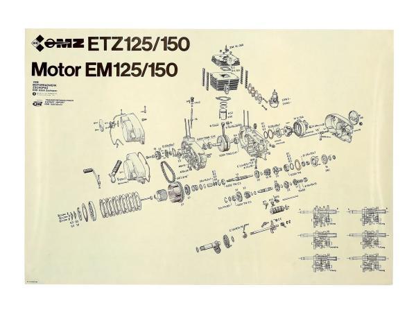 Explosionszeichnung vom Motor ETZ150,  10031112 - Bild 1