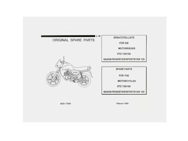 Ersatzteilkatalog - MZ ETZ 125, 150,  10003656 - Bild 1