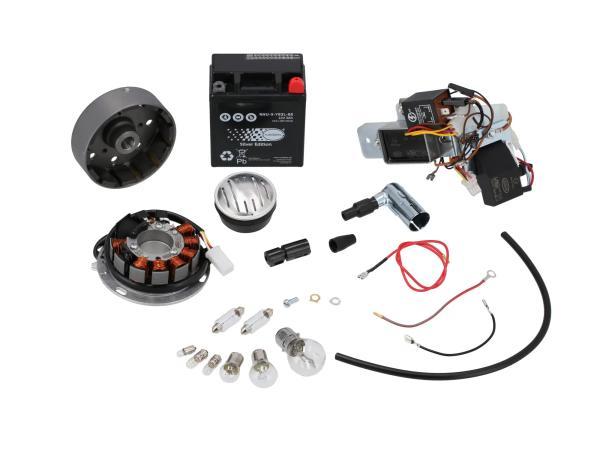 Set: Umrüstsatz VAPE auf 12V (mit Batterie, Hupe und Leuchtmittel) - Simson KR51/1 Schwalbe, KR51/2 Schwalbe,  GP10068574 - Bild 1