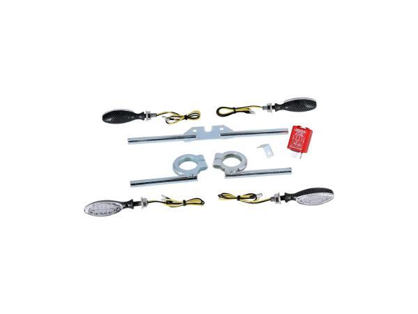 Set: 4 LED Mini-Blinker oval in Carbonoptik inkl. Blinkerträger und Blinkgeber 12V - für Simson S50, S51, S70,  GP10000467 - Bild 1