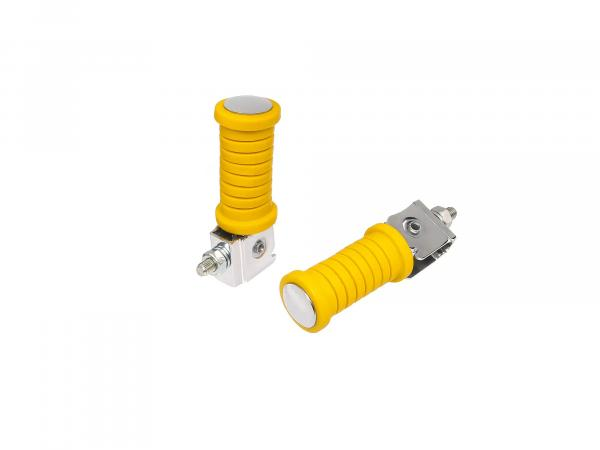 10003328 Set: 2 Soziusfußrasten - (links / rechts) Gelb glatt verchromt MZ ETZ - Bild 1