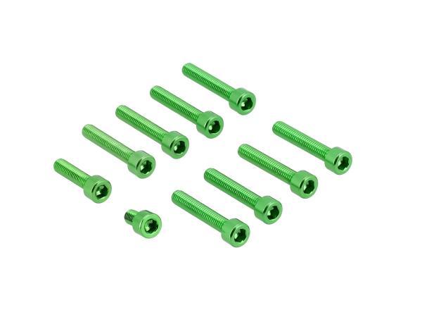 Set: Aluminium-Schrauben, Innensechskant in Grün Kupplungs- und Lichtmaschinendeckel Motor S51,  10070747 - Bild 1