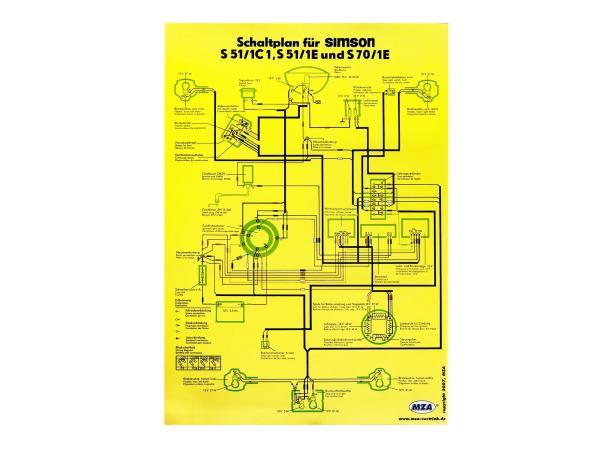 Schaltplan Farbposter (40x57cm) Simson S51/1 C1, S51/1 E, S70/1E,  10007838 - Bild 1