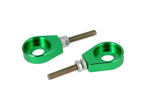 Set: 2x Kettenspanner für Schwinge, Aluminium Grün eloxiert - Simson S51, S50, SR50, Schwalbe KR51, SR4,  10069427 - Bild 1