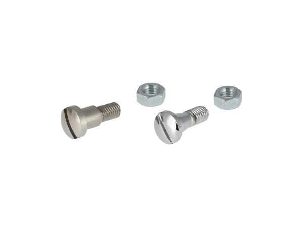 Set: 2x Schraube mit Mutter verchromt für Hebelaufnahme Kupplungs- und Handbremshebel - für MZ ES175, ES250,  10067844 - Bild 1