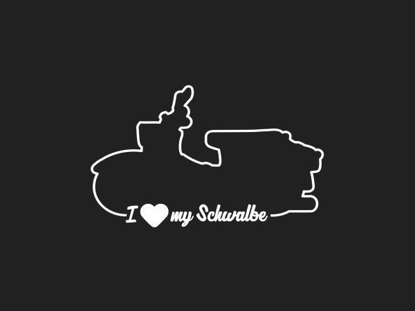 """Aufkleber - """"I LOVE MY SCHWALBE"""" Folienplot Weiß, mit Übertragungsfolie,  10069156 - Bild 1"""