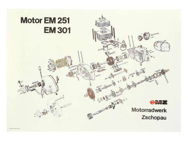 Explosionszeichnung vom Motor ETZ251, ETZ301,  10031121 - Bild 1