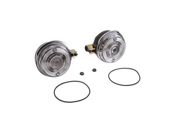 Set: 2 Blinker vorn, rund in Schwarz mit weißem Glas - Simson S50, S51, S70, SR50, SR80, MZ ETZ, TS,  10067023 - Bild 1