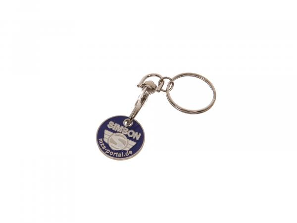 Schlüsselanhänger, Einkaufwagenchip aus Metall mit SIMSON-Logo, beidseitig geprägt inkl. Ring mit Karabinerhaken,  10065437 - Bild 1