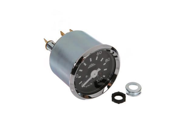 Tachometer mit Chromring mit Blinkkontrolle, bis 100kmh,  10044042 - Bild 1