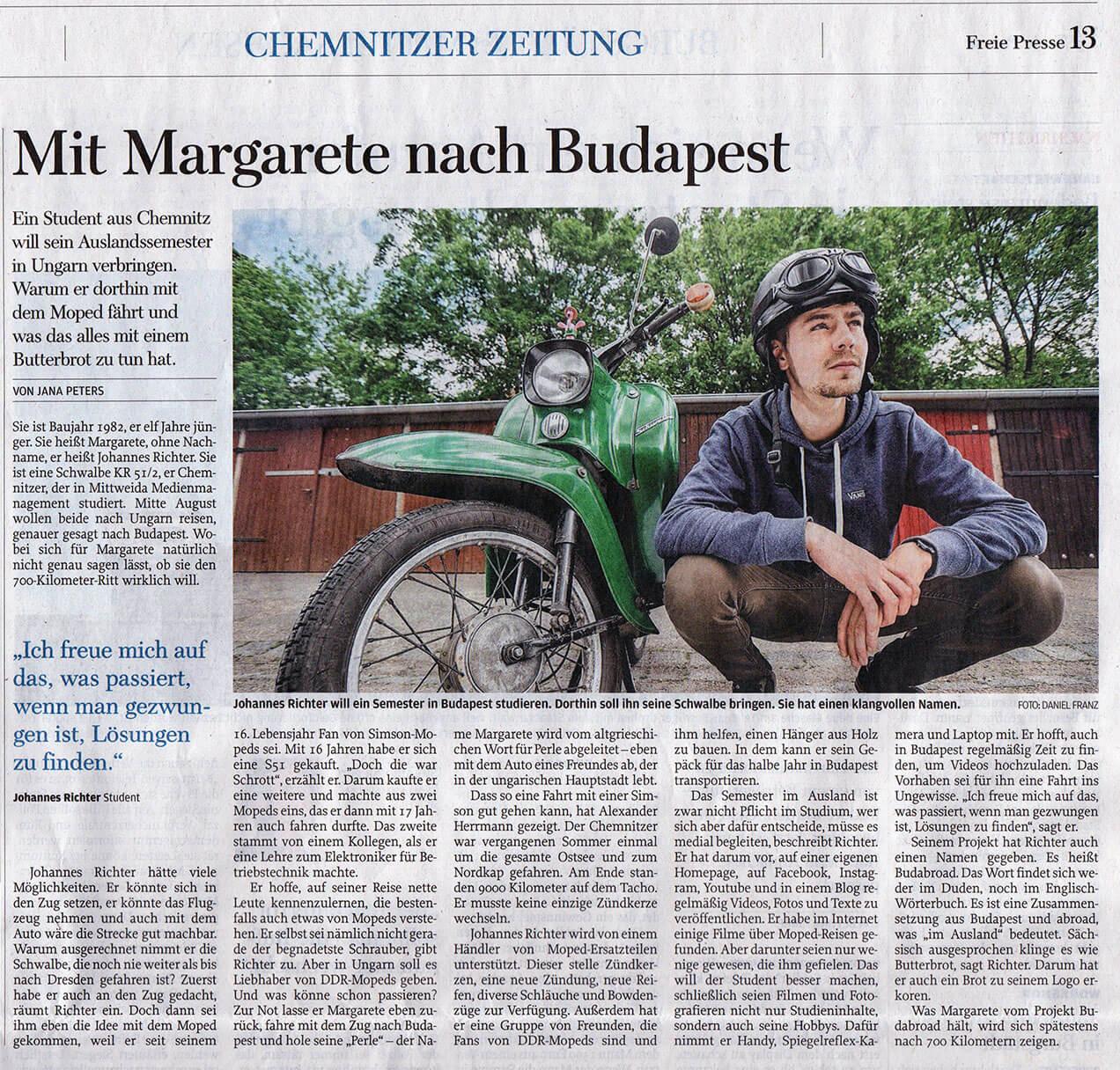 Budabroad in der Chemnitzer Zeitung FREIE PRESSE