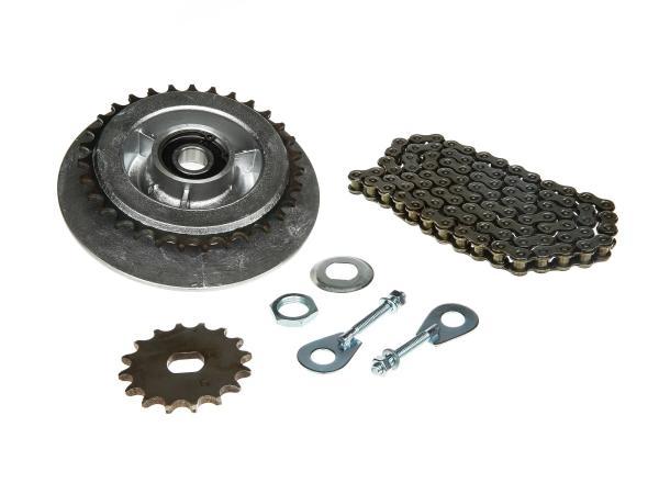 Kleines Kettenradantrieb-Set (Ketten-Set) - für Simson SR50, SR80,  10000454 - Bild 1