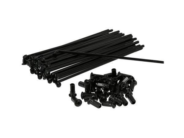 Set: Speichen mit Nippel - 143,5mm M4 in Schwarz, für 16Zoll - für Simson S50, S51, S70, KR51 Schwalbe, SR4 Vogelserie,  10070489 - Bild 1