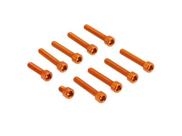 Set: Aluminium-Schrauben, Innensechskant in Orange für Kupplungs- und Lichtmaschinendeckel Motor S51,  10070566 - Bild 1
