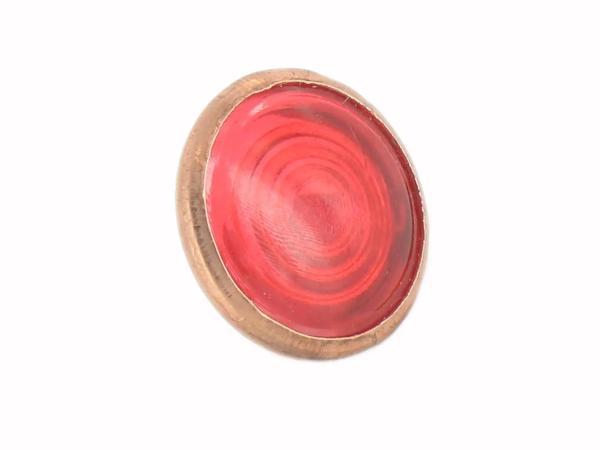 10013545 Kontrollglas, Rot, Kupfer-Fassung, Ø16mm - für Simson AWO, MZ RT, BK350, EMWR35 - Bild 1