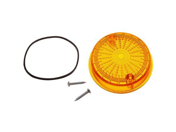 Blinkerkappe hinten, rund, orange inkl. Gummidichtring + Schrauben - Simson S50, S51, S70, SR50, SR80 - MZ ETZ, TS,  10067492 - Bild 1