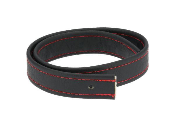 10062746 Halteriemen für Sitzbank schwarz mit Ziernaht in Rot - Handarbeit - Bild 1