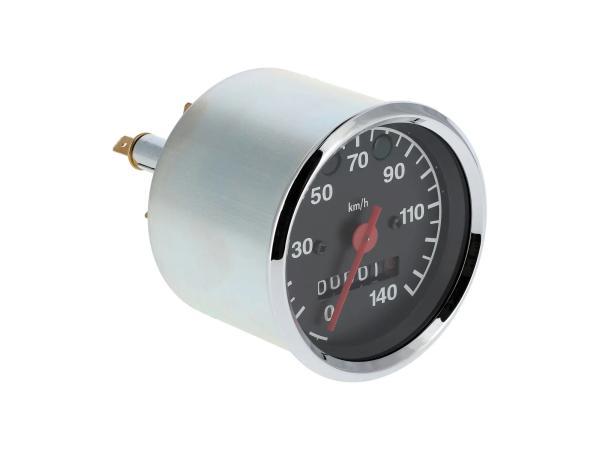 Tachometer bis 140 km/h, Ø80mm, Kontrollleuchten BLAU + GRÜN - für MZ ETZ,  10066643 - Bild 1