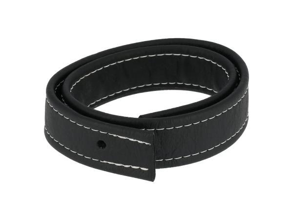 10062744 Halteriemen für Sitzbank schwarz mit Ziernaht in Weiß - Handarbeit - Bild 1