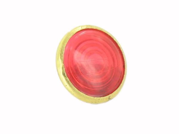 10013546 Kontrollglas, Rot, Messing-Fassung, Ø16mm - für Simson AWO, MZ RT, BK350, EMWR35 - Bild 1