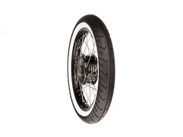 """10068505 Komplettrad hinten 1,5x16"""" Alufelge/Nabe schwarz + Edelstahlspeichen + Weißwandreifen Mitas MC2 - Bild 1"""