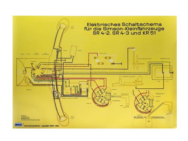 Schaltplan Farbposter (72x50cm) Simson Star SR4-2, Sperber SR4-3, Schwalbe KR51,  10007832 - Bild 1