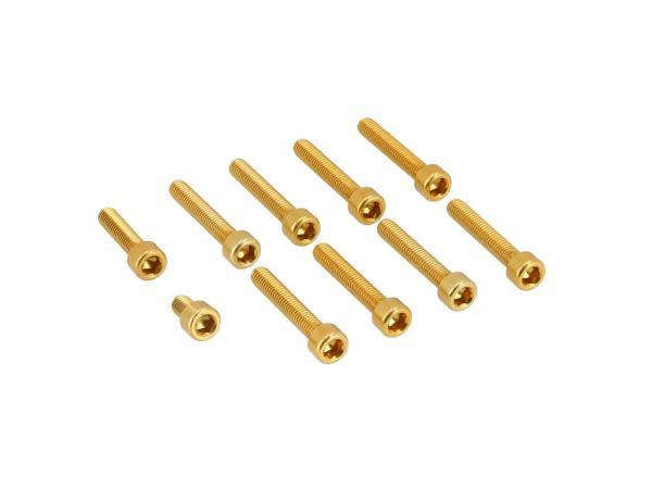 Set: Aluminium-Schrauben, Innensechskant in Gold für Kupplungs- und Lichtmaschinendeckel Motor S51,  10070565 - Bild 1
