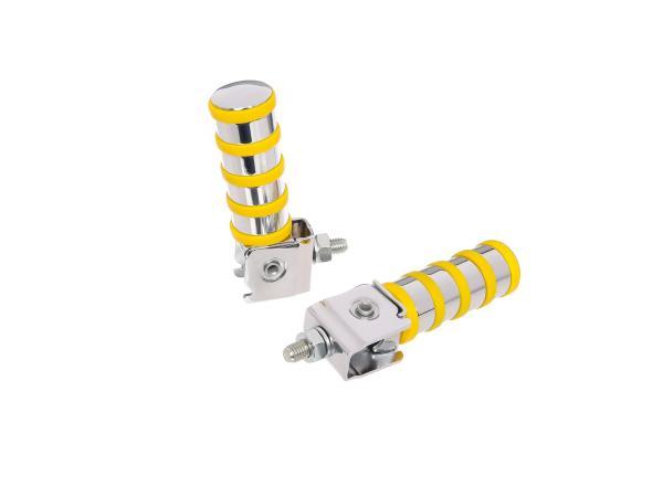 10060544 SET Soziusfußraste links u. rechts, verchromt, 4 Ringe, gelb, ETZ - Bild 1