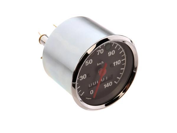 Tachometer bis 140 km/h, Ø80mm, Kontrollleuchten ROT + GRÜN - für MZ TS,  10067853 - Bild 1
