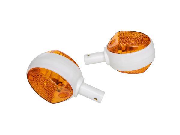 Set: 2 Blinker in Weiß mit orangenem Glas - Simson KR51/1 Schwalbe, KR51/2 Schwalbe, SR4-2 Star, SR4-3 Sperber, SR4-4 Habicht, MZ ES,  10068586 - Bild 1