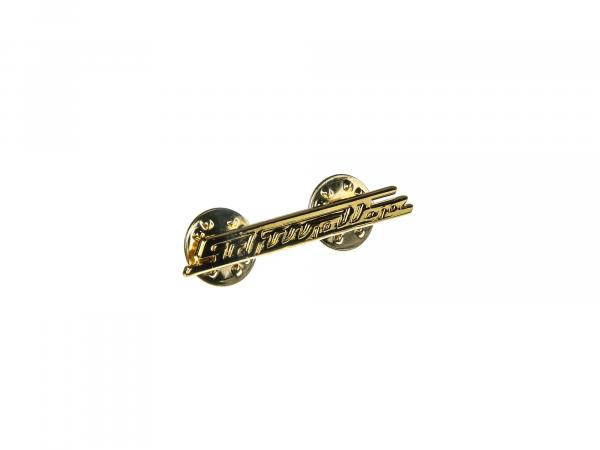 10065647 SIMSON-Pin Schwalbe-Schriftzug, gold, 38mm - Bild 1