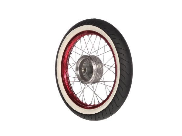 """10066195 Komplettrad vorn 1,5x16"""" Alufelge rot + Edelstahlspeichen + Weißwandreifen Mitas MC2 - Bild 1"""