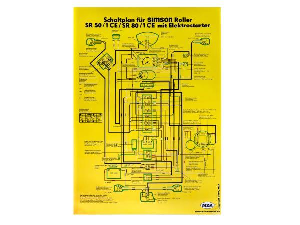 Schaltplan Farbposter (40x57cm) SR50/1 CE, SR80/1 CE mit Elektrostrater (beidseitig Glanzcello, schmutzabweisend),  10061671 - Bild 1