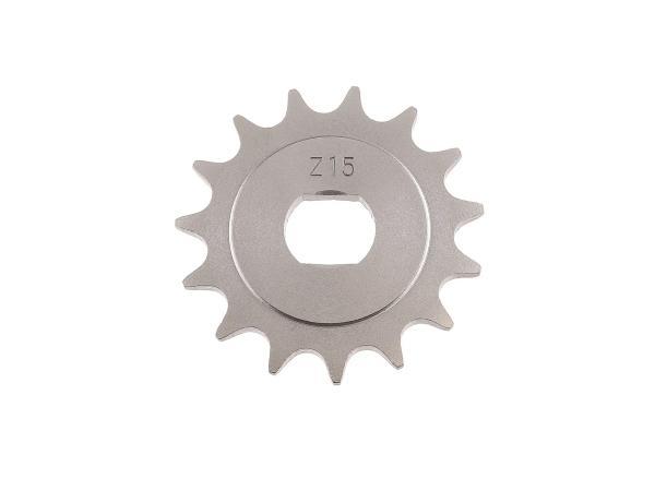 Ritzel, kleines Kettenrad, 15 Zahn - für Simson S51, S70, S53, S83, KR51/2 Schwalbe, SR50, SR80,  10000484 - Bild 1
