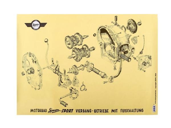 Explosionsdarstellung Farbposter (72x50cm) Simson AWO 425 Viergang-Getriebe mit Fußschaltung AWO Sport,  10016456 - Bild 1