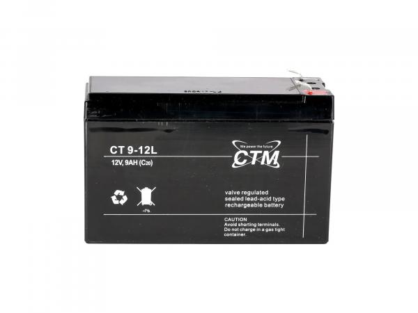 GP10068569 Batterie 12V 9Ah CTM (Vlies - wartungsfrei) - für MZ ETZ 125, ETZ 150, ETZ 250, ETZ 251, ETZ 300 - Bild 1