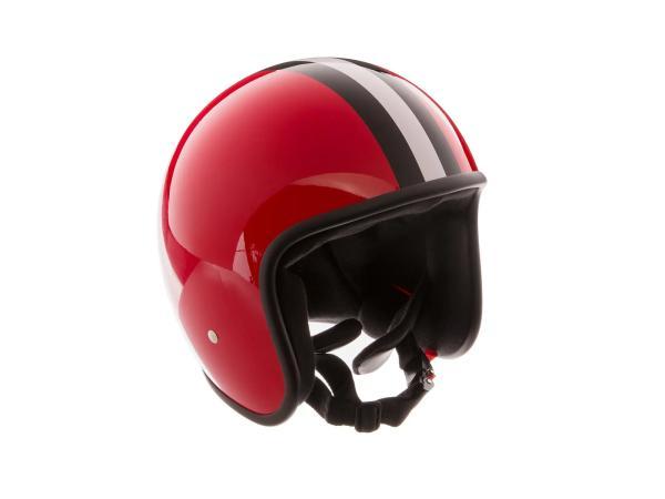 """ARC Helm """"Modell A-611"""" Retrolook - Rot mit Streifen,  10068599 - Bild 1"""