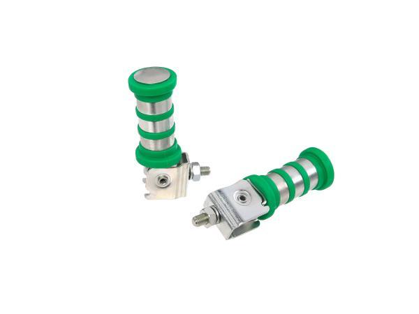 10060524 SET Soziusfußraste links u. rechts, verzinkt, grün, 3 Ringe, ETZ - Bild 1