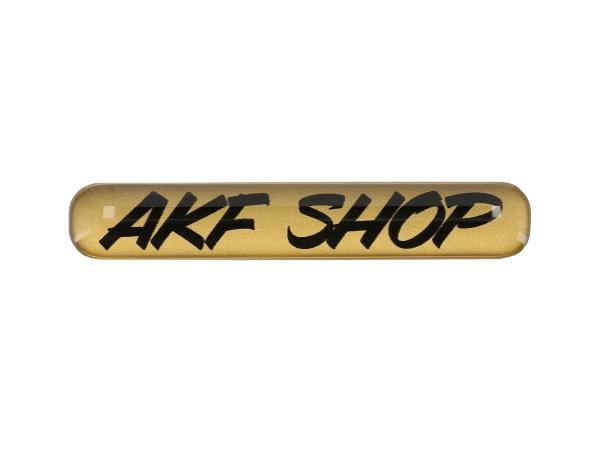 "Gelaufkleber - ""AKF Shop"" gold/schwarz,  10070616 - Bild 1"