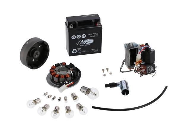 Set: Umrüstsatz VAPE auf 12V (mit Batterie und Leuchtmittel) - Simson SR50, SR80,  GP10068576 - Bild 1