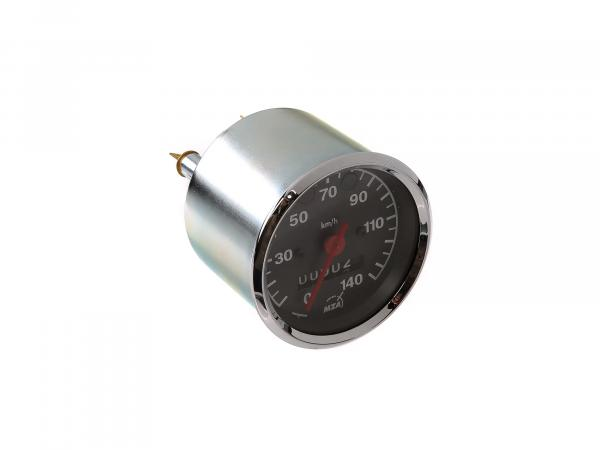 Tachometer bis 140 km/h, Ø80mm, Kontrollleuchten ROT + GRÜN - MZ TS,  10065398 - Bild 1